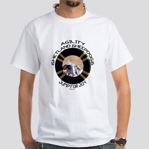 Agility Shetland Sheepdogs Jump White T-Shirt