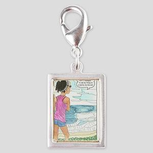 thong zip line 001 Silver Portrait Charm