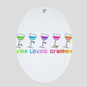 Wine loving grandma Ornament (Oval)