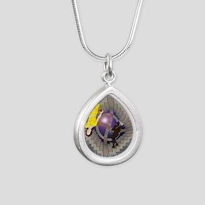 Labyrinth Silver Teardrop Necklace