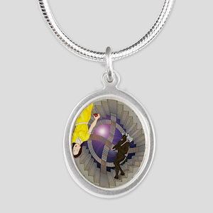 Labyrinth Silver Oval Necklace