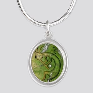 Kokopelli Earth Iphone 4G Silver Oval Necklace