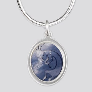Kokopelli Wind Iphone 4G Silver Oval Necklace