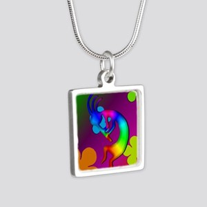 Psychedelic Kokopelli Ipho Silver Square Necklace