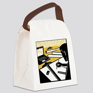 architectural draftsman at work d Canvas Lunch Bag