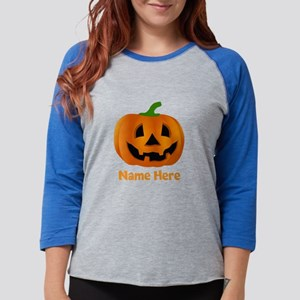 Customized Pumpkin Jack O Lant Womens Baseball Tee