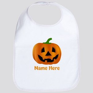 Customized Pumpkin Jack O Lantern Cotton Baby Bib