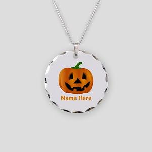 Customized Pumpkin Jack O La Necklace Circle Charm