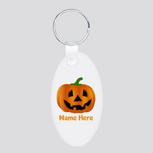 Customized Pumpkin Jack O L Aluminum Oval Keychain