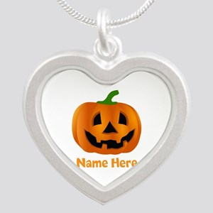 Customized Pumpkin Jack O La Silver Heart Necklace