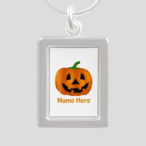 Customized Pumpkin Jack Silver Portrait Necklace