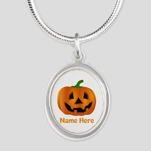 Customized Pumpkin Jack O Lan Silver Oval Necklace