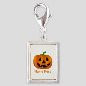 Customized Pumpkin Jack O La Silver Portrait Charm