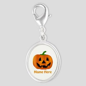 Customized Pumpkin Jack O Lante Silver Oval Charm