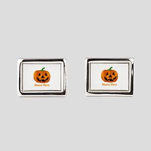 Customized Pumpkin Jack O La Rectangular Cufflinks