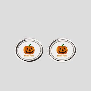 Customized Pumpkin Jack O Lantern Oval Cufflinks