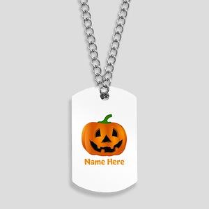 Customized Pumpkin Jack O Lantern Dog Tags