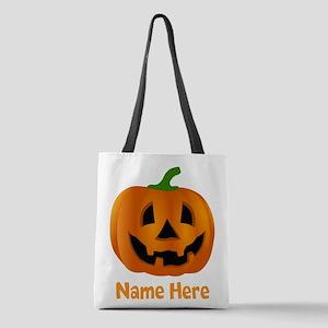 Customized Pumpkin Jack O Lante Polyester Tote Bag
