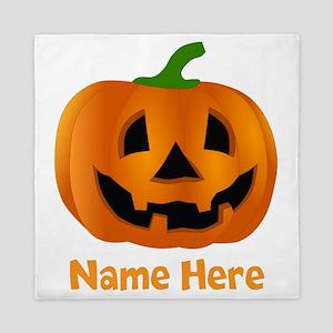 Customized Pumpkin Jack O Lantern Queen Duvet