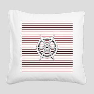 nautical wheel navy stripes b Square Canvas Pillow