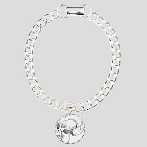 stone age skull Charm Bracelet, One Charm