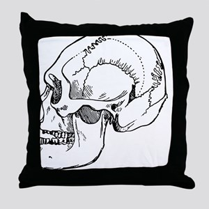 stone age skull Throw Pillow