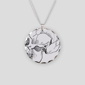 stone age skull Necklace Circle Charm