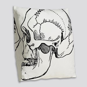 stone age skull Burlap Throw Pillow