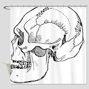 stone age skull Shower Curtain