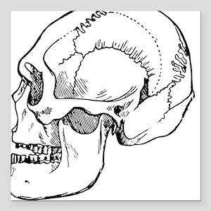 "stone age skull Square Car Magnet 3"" x 3"""