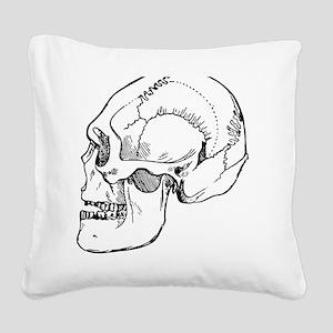 stone age skull Square Canvas Pillow