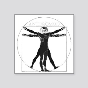 "Anthromod logo dark+text Square Sticker 3"" x 3"""