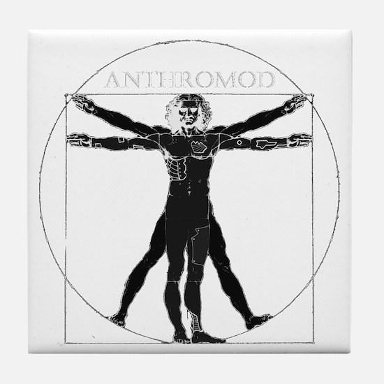 Anthromod logo dark+text Tile Coaster