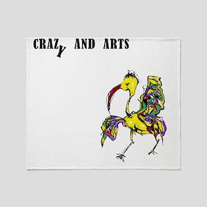 crazy and arts bird Throw Blanket