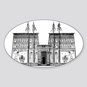 egyptian temple showing the pylons Sticker (Oval)
