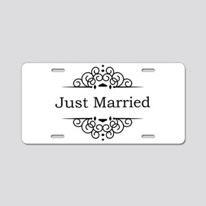 Just Married in Black Aluminum License Plate