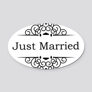 Just Married in Black Oval Car Magnet