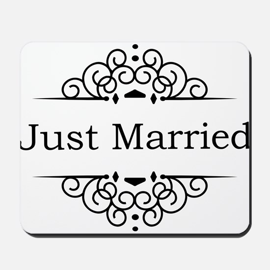 Just Married in Black Mousepad