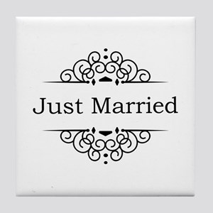 Just Married in Black Tile Coaster
