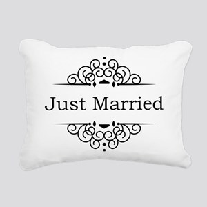 Just Married in Black Rectangular Canvas Pillow