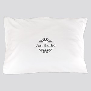 Just Married in Black Pillow Case