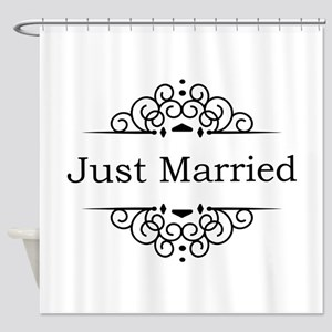 Just Married in Black Shower Curtain