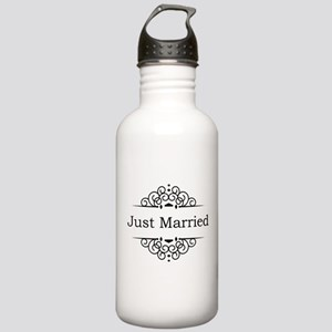 Just Married in Black Sports Water Bottle