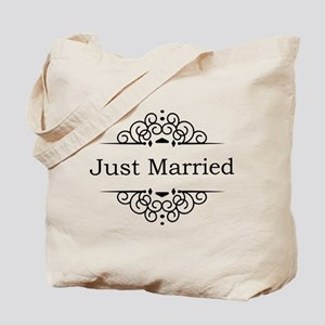 Just Married in Black Tote Bag