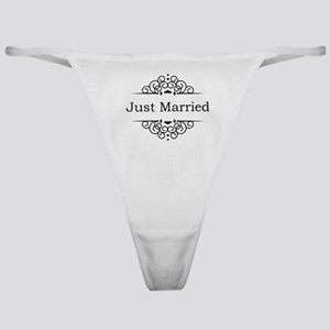 Just Married in Black Classic Thong