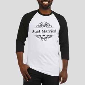 Just Married in Black Baseball Jersey