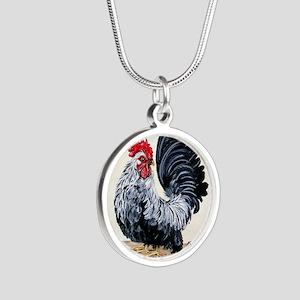 1 chicken card Silver Round Necklace
