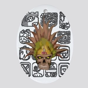 mayan skull with glyphs Oval Ornament