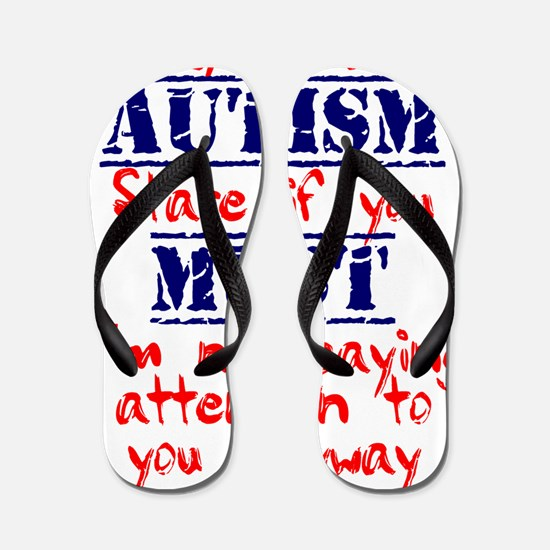 Stare if you must red and blue Flip Flops