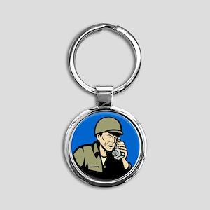 world war two soldier walkie talkie Round Keychain